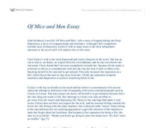 Of Mice And Character Analysis Essay by Of Mice And Curley S In Many Ways Is The Most Sympathetic Character In The Novel