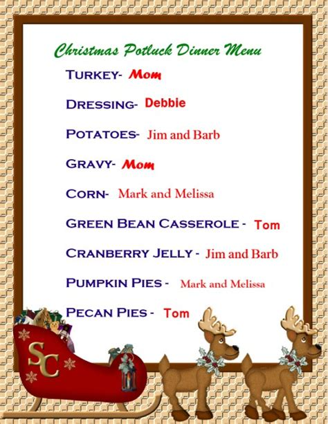 try a potluck christmas dinner this year