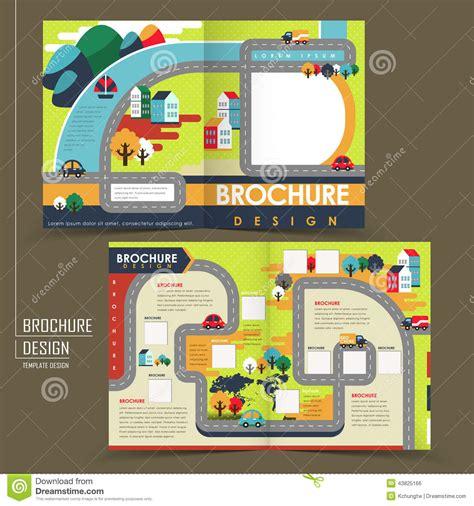 half fold template of flat design town brochure stock