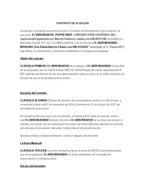 contrato de alquiler peru 2016 formato contrato de alquiler 2017 per 250
