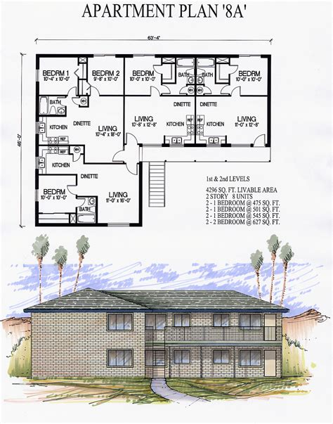 8 plex apartment plans apartments8a