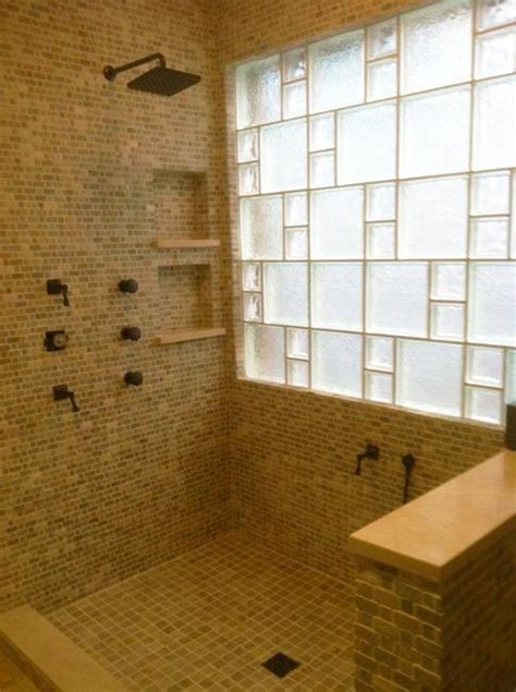 glass block walls  bright  modern bathroom design