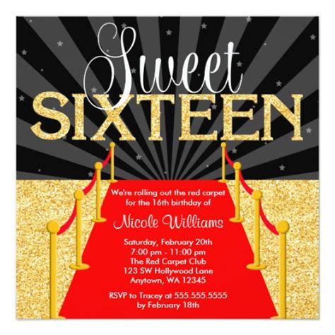 printable hollywood invitation templates red carpet gold glam hollywood sweet 16 birthday