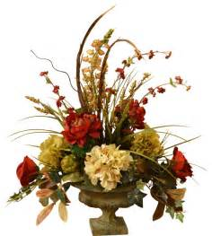 artificial floral arrangements peony and hydrangea silk flower arrangement with feathers traditional artificial flower