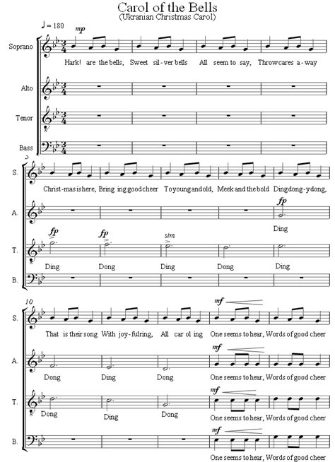 carol of the bells sheet music for choir 8notes com