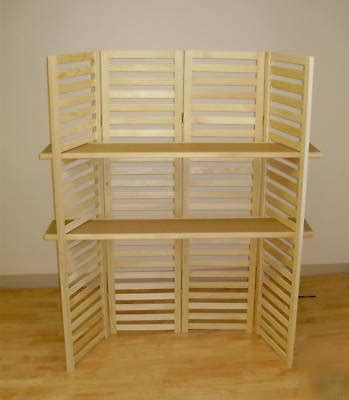 display shelf 58 quot t 4 panel with shelves portable
