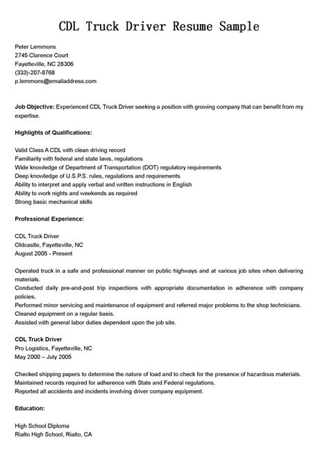Driver Resumes: CDL Truck Driver Resume Sample
