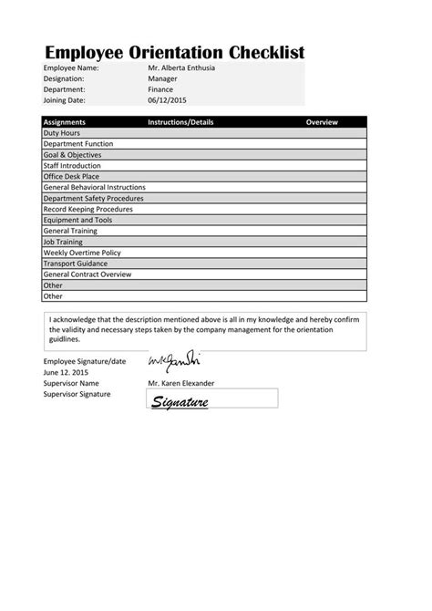 New Hire Checklist Template Download Free Premium Templates Forms Sles For Jpeg Png Employee Orientation Template