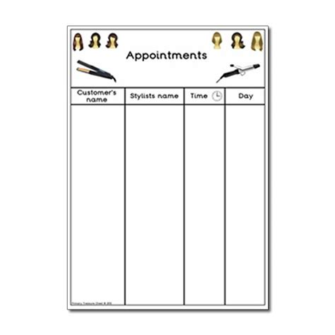 hairdressing games primary hairdressers role play resources appointment worksheet