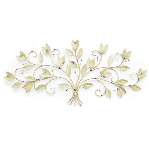 three hands home decor three hands metal leaf wall art 25065 the home depot