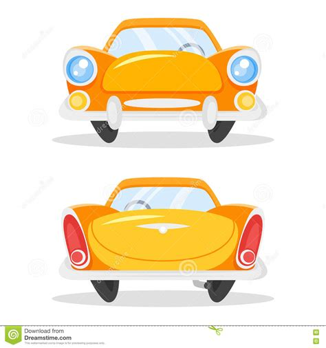 cartoon car back vector cartoon style illustration of vintage old yellow