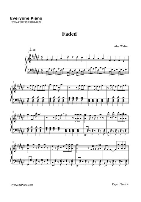 alan walker chord faded faded alan walker stave preview 1 free piano sheet music