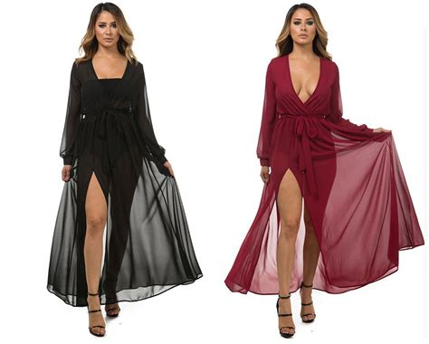 How To Use A Slit L by Black Chiffon Wrap Dress Sleeve Sweep Floor