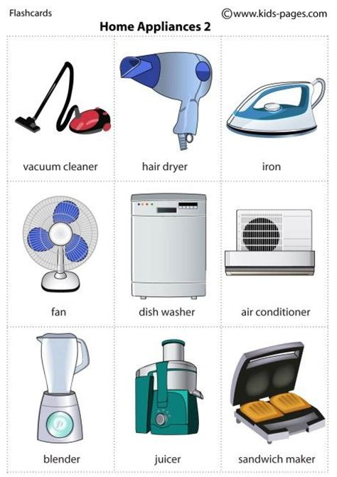 essential household appliances kids pages home appliances 2 learn english pinterest