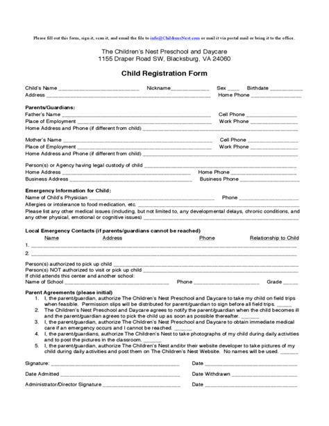child care enrollment form template child registration form the children s nest preschool