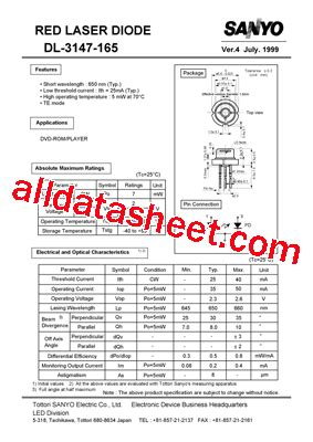 high power laser diode datasheet dl 3147 165 datasheet pdf sanyo semicon device