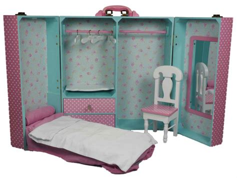 Pink Bedroom Trunk Furniture For 18 Dolls American Girl 168 Doll Bedroom Furniture