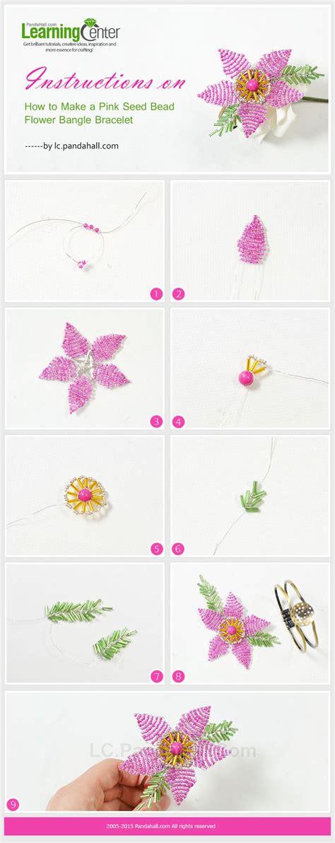 Bracelet Gelang Manik Manik Pink Hitam a pink seed bead flower bangle bracelet jewelry tutorials tips 2 bangle
