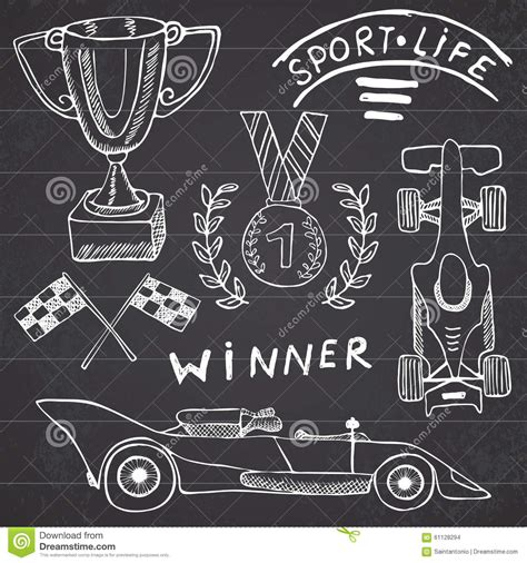 doodle racer simple doodle of a medal vector cartoondealer