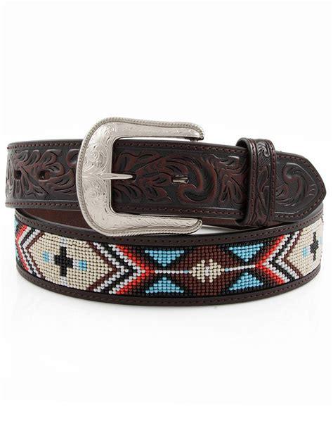 mens beaded belt 3d s 1 1 2 quot beaded belt brown