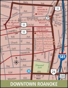 roanoke downtown map