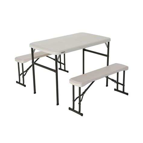 half picnic table bench lifetime fold in half picnic table with benches 80373