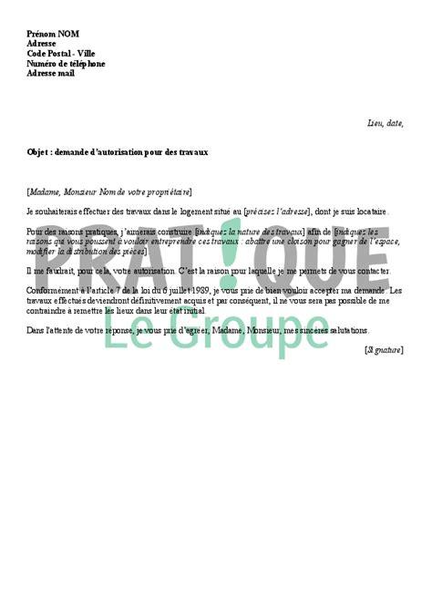 Demande De Lettre D Autorisation lettre 224 propri 233 taire demande d autorisation pour