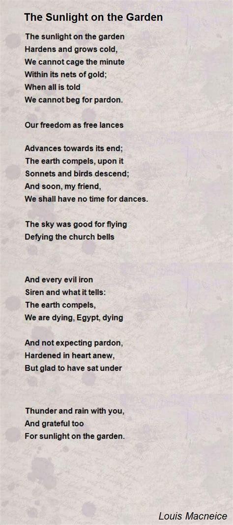 sunlight   garden poem  louis macneice poem