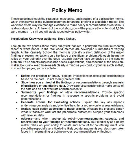 policy change memo template sle policy memo 13 documents in pdf