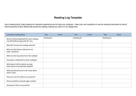 printable reading log for adults 47 printable reading log templates for kids middle school