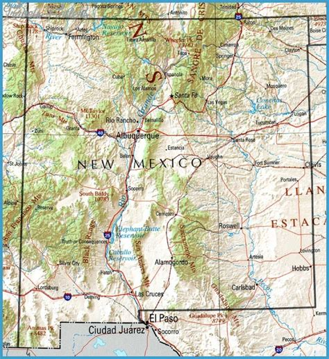 colorado and new mexico map new mexico map travel map vacations travelsfinders