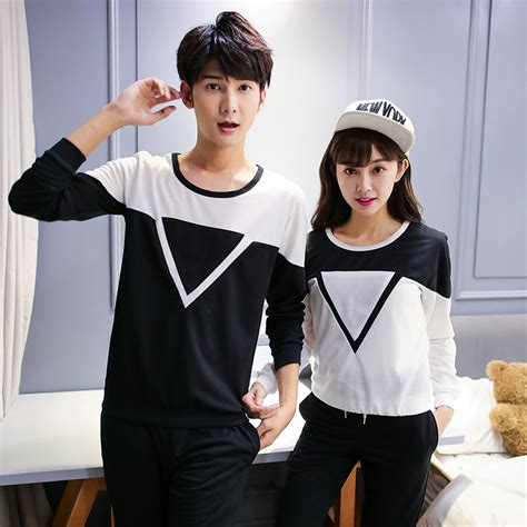 The Couples Clothing Triangle Cotton Korean Shirts With Sleeves