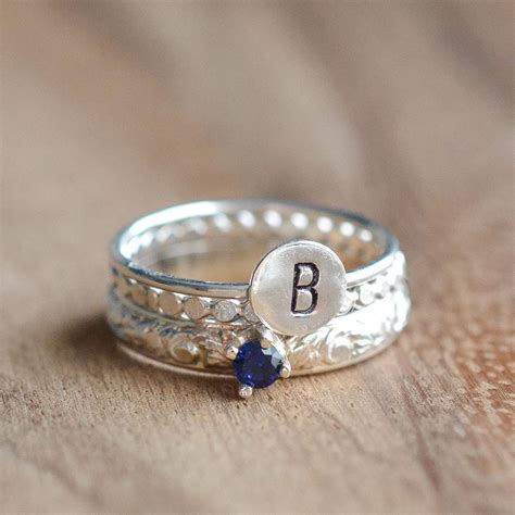 sterling silver initial stacking ring sterling silver
