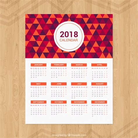Descargar Calendario 2018 2018 Calendar Of Triangles Vector Free