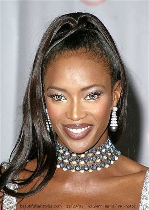 is imus bald or real hair naomi cbell with black hair in high ponytail for