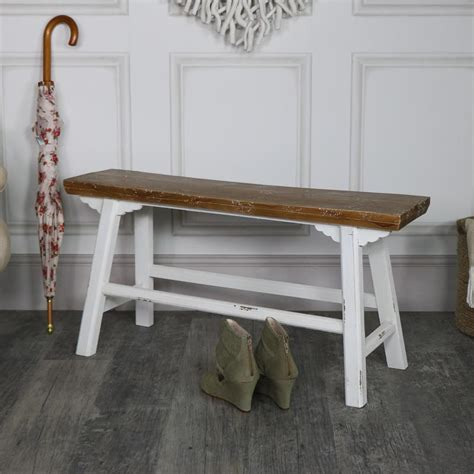 wide vintage wooden stool bench melody maison 174