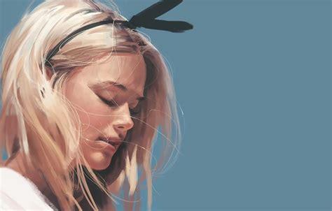 wallpaper face blonde art blue background bezel closed eyes portrait   girl