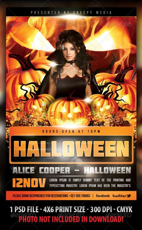 templates for halloween flyers halloween flyer flyer template halloween and concerts