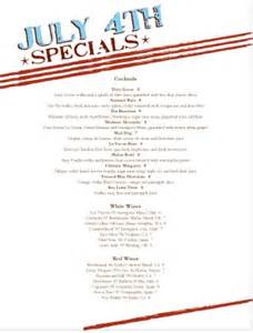 4th of july menu template july 4th specials menu 4th of july menus