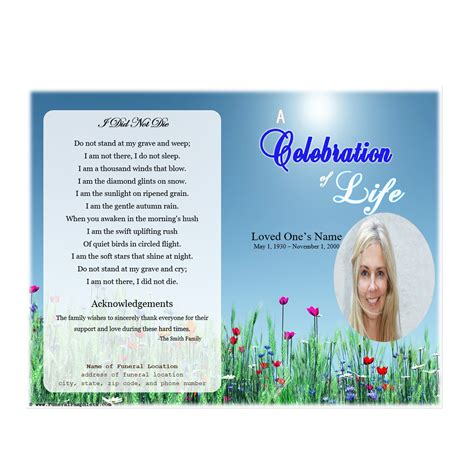 Celebration Of Template Free Life Single Fold Memorial Program Funeral Phlets