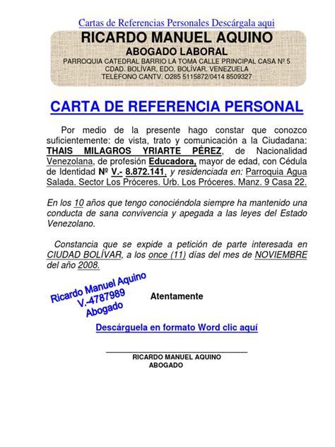 carta de referencia laboral para banco formato modelo ejemplo carta de referencia personal