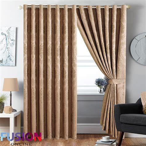 Ring Top Curtain Jacquard Fully Lined Pair Eyelet Curtains