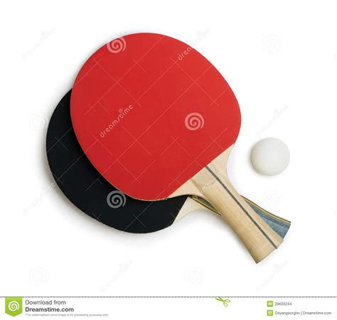 tennis rackets for ping pong white isolated stock photo