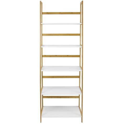 white 5 shelf bookcase hartleys white bamboo 5 tier tall bookcase shelves