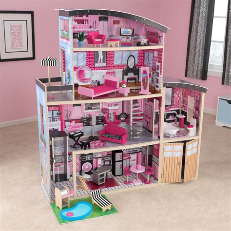 kid kraft doll house kidkraft sparkle mansion modern dollhouse 65826 toy dollhouses at hayneedle