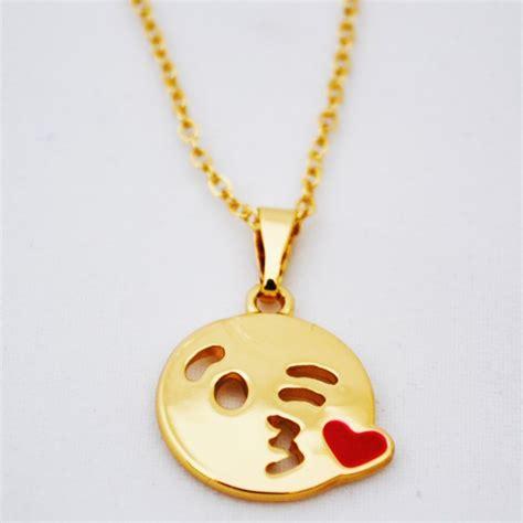 emoji jewelry gold kiss emoji necklace necklaces jewelry shop