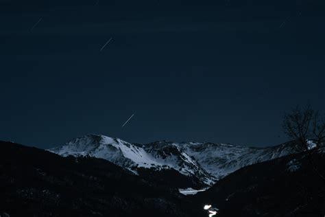 wallpaper mountains snow night sky stars nature
