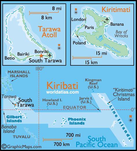 map of kiribati islands kiribati large color map by world atlas