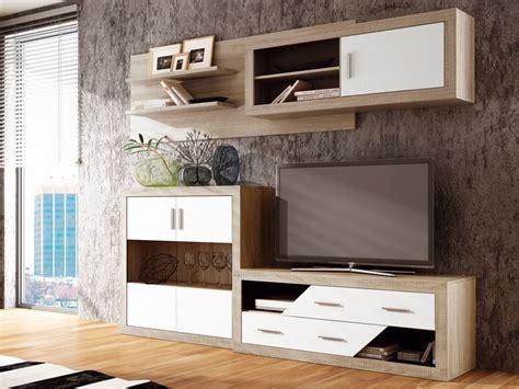 muebles salon comedor de color roble  blanco modulares