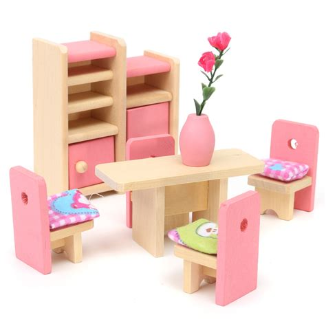 mini settee wooden doll set children toys miniature house family